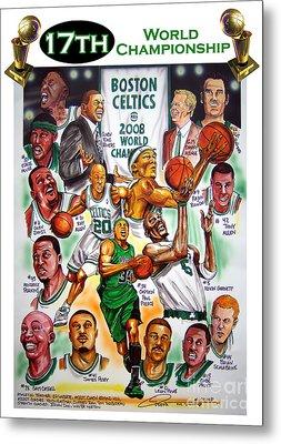 Boston Celtics World Championship Newspaper Poster Metal Print by Dave Olsen