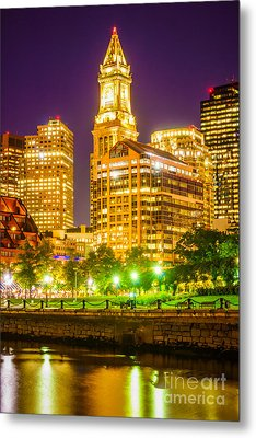 Boston Cityscape At Night Metal Print by Paul Velgos