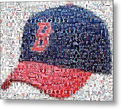 Boston Red Sox Cap Mosaic Metal Print by Paul Van Scott