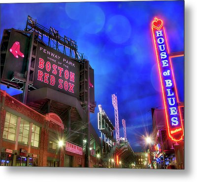 Boston Red Sox Fenway Park At Night  Metal Print by Joann Vitali