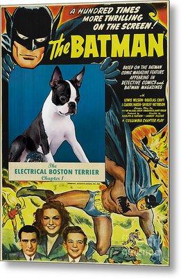 Boston Terrier Art Canvas Print -  Batman Movie Poster Metal Print by Sandra Sij