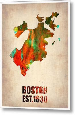 Boston Watercolor Map  Metal Print by Naxart Studio