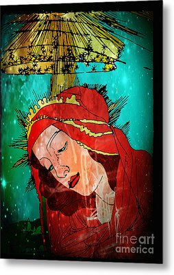 Botticelli Madonna In Space Metal Print by Genevieve Esson