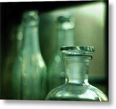 Bottles In The Window Metal Print by Rebecca Sherman
