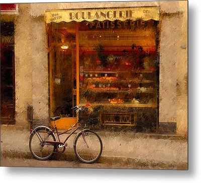 Boulangerie And Bike 2 Metal Print by Mick Burkey