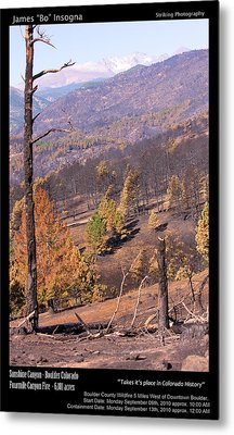 Boulder County Wildfire 5 Miles West Of Downtown Boulder Metal Print by James BO  Insogna