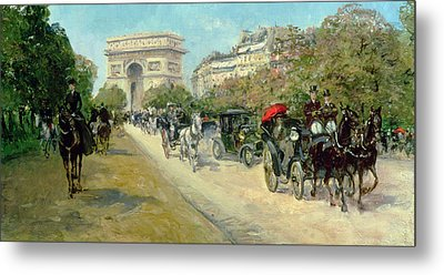 Boulevard In Paris Metal Print by Georges Stein