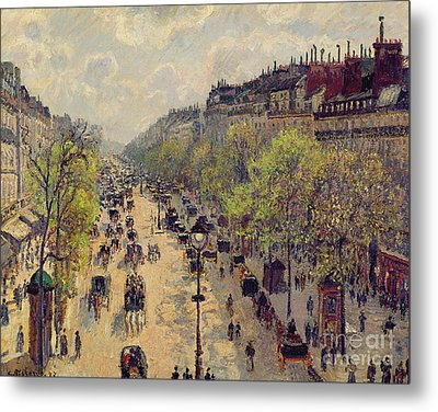 Boulevard Montmartre Metal Print by Camille Pissarro