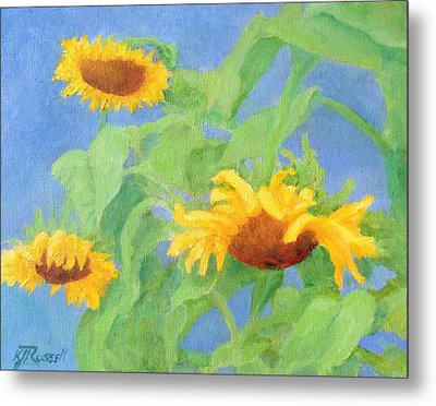 Bowing Sunflowers Colorful Original Painting Metal Print by K Joann Russell
