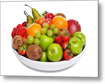Bowl Of Fresh Fruit Isolated On White Metal Print by Richard Thomas