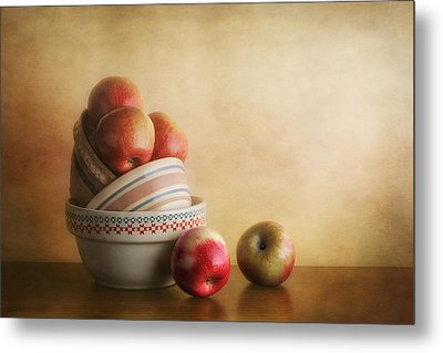 Bowls And Apples Still Life Metal Print by Tom Mc Nemar