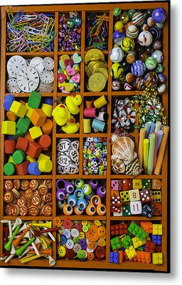 Box Full Of Colorful Objects Metal Print by Garry Gay