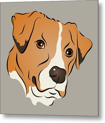 Boxer Mix Dog Graphic Portrait Metal Print by MM Anderson