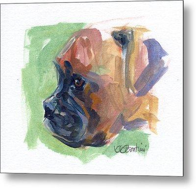 Boxer Pup Metal Print by Kimberly Santini