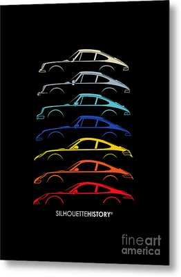 Boxer Sports Car Silhouettehistory Metal Print by Gabor Vida