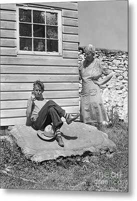 Boy Caught Smoking Pipe, C.1940s Metal Print by H. Armstrong Roberts/ClassicStock
