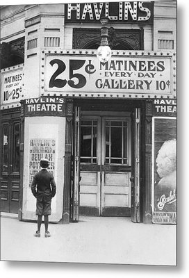 Boy In Front Of A Movie Theater Showing Metal Print by Everett