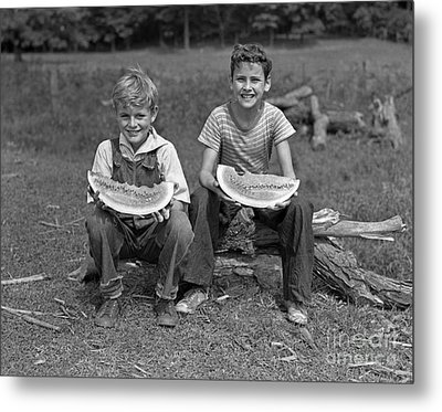 Boys Eating Watermelons, C.1940s Metal Print by H. Armstrong Roberts/ClassicStock