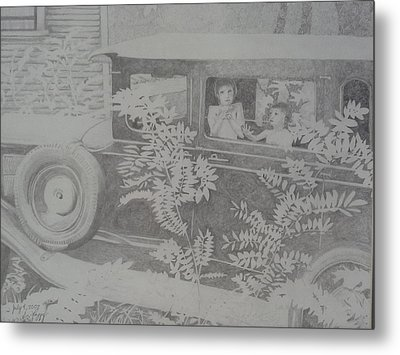 Happy's 2002 Boys With Dove In Model A Metal Print by Happy Byrd
