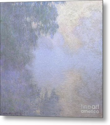 Branch Of The Seine Near Giverny  Mist Metal Print by Claude Monet