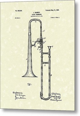 Brass Trombone Musical Instrument 1902 Patent Metal Print by Prior Art Design
