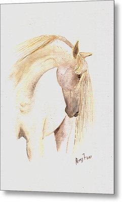 White Horse From The Wild Metal Print by Remy Francis