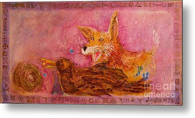 Bre Fox And Bre Crow Metal Print by Gertrude Palmer