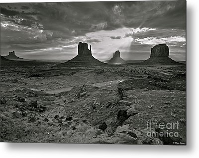 Breaking Light At Monument Valley - Black And White Metal Print by Brian Stamm