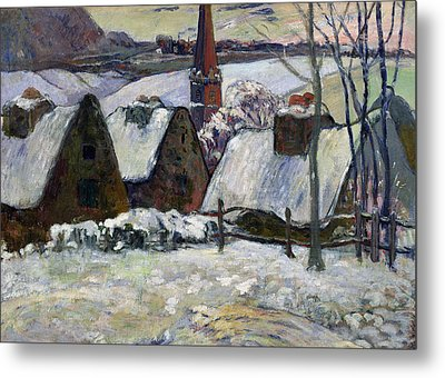 Breton Village Under Snow Metal Print by Paul Gauguin