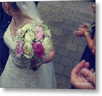Bride With Wedding Bouquet Metal Print by Patricia Hofmeester