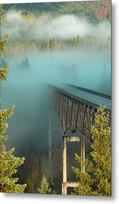 Bridge In The Mist Metal Print by Annie Pflueger