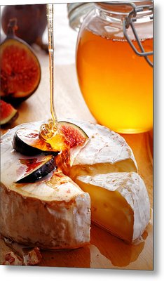Brie Cheese With Figs And Honey Metal Print by Johan Swanepoel
