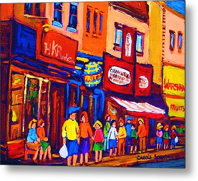 Bright Lights On The Main Metal Print by Carole Spandau