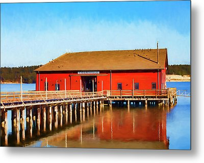Bright Red Coupeville Wharf On Whidbey Island Metal Print by Carol Leigh