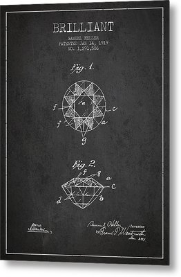 Brilliant Patent From 1919 - Charcoal Metal Print by Aged Pixel