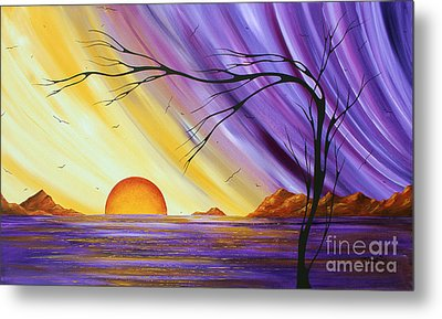 Brilliant Purple Golden Yellow Huge Abstract Surreal Tree Ocean Painting Royal Sunset By Madart Metal Print by Megan Duncanson