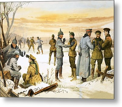 British And German Soldiers Hold A Christmas Truce During The Great War Metal Print by Angus McBride
