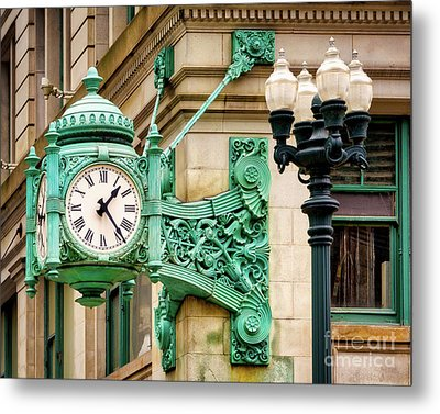 Bronze Clock Metal Print by Jerry Fornarotto