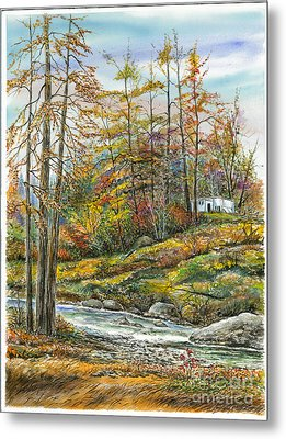 Brook In Autumn Metal Print by Samuel Showman