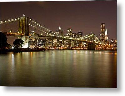 Brooklyn Bridge At Night 10 Metal Print by Val Black Russian Tourchin