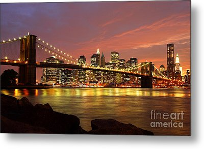 Brooklyn Bridge At Night Metal Print by Holger Ostwald