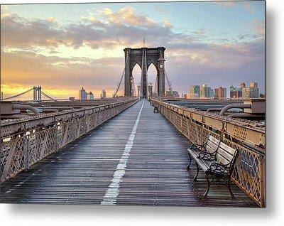 Brooklyn Bridge At Sunrise Metal Print by Anne Strickland Fine Art Photography