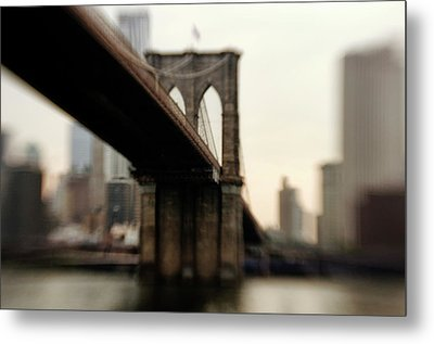 Brooklyn Bridge, New York City Metal Print by Photography by Steve Kelley aka mudpig