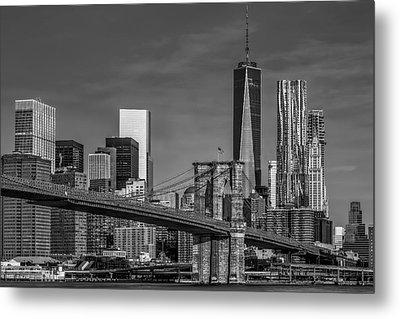 Brooklyn Bridge New York City Sunrise Bw Metal Print by Susan Candelario