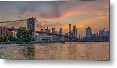 Brooklyn Bridge Summer Sunset Metal Print by Scott McGuire