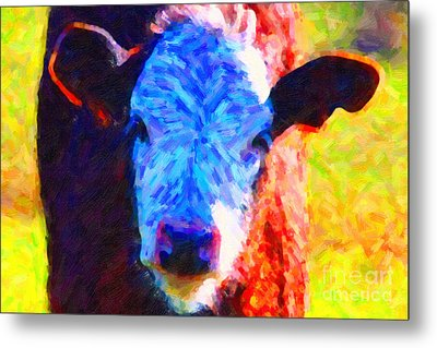 Brown Cow . Painterly Metal Print by Wingsdomain Art and Photography