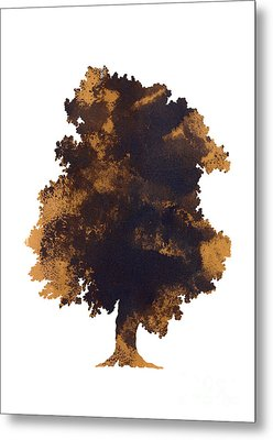 Brown Oak Minimalist Painting Metal Print by Joanna Szmerdt
