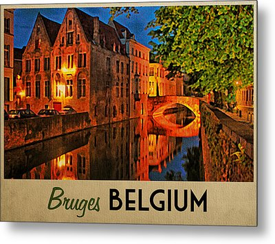 Bruges Belgium At Night Metal Print by Flo Karp