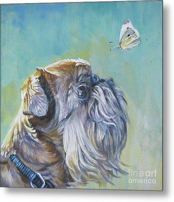 Brussels Griffon With Butterfly Metal Print by Lee Ann Shepard