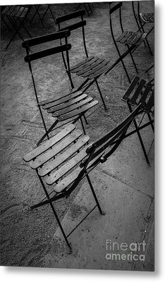 Bryant Park Chairs Nyc Metal Print by Edward Fielding